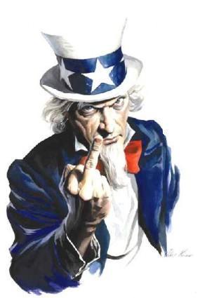 Uncle Sam flippin the bird